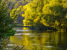 Autumn Sunrise On The River Itchen - A Famous Chalk Bed Stream Renowned For Fly Fishing - Between Ovington And Itchen Abbas In Hampshire, UK.