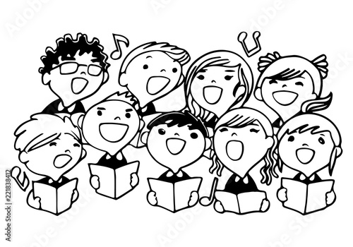 Vászonkép Children choir for coloring