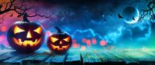 Halloween Pumpkins Glowing In ...