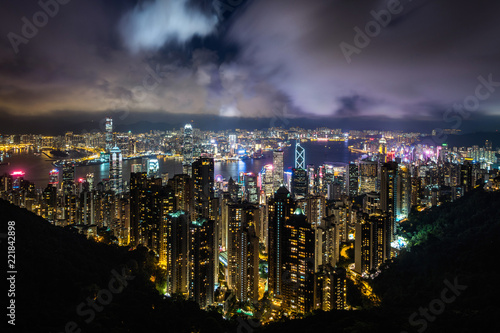 Hong Kong cityscape and Victoria Harbor at night, Hong Kong, China.
