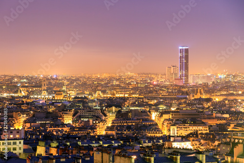 Beautiful Paris Night Cityscape Seen From Montmartre With The Tour Montparnasse Skyscraper At Night Buy This Stock Photo And Explore Similar Images At Adobe Stock Adobe Stock