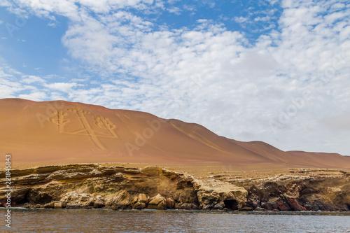 Foto op Aluminium Arctica Chandelier de Paracas Rocher falaise îles Ballestas Pérou Ica Lima Paysage excursion visite tour