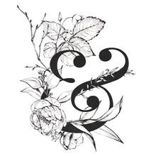 Graphic Floral Alphabet - & Am...