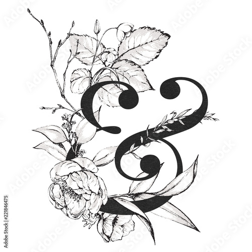 Photo Graphic Floral Alphabet - & ampersand with black and white flowers bouquet composition
