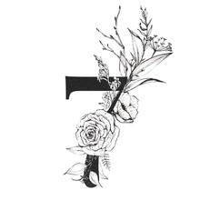 Graphic Floral Numbers - Digit 7 With Black And White Inked Flowers Bouquet Composition. Unique Collection For Wedding Invites Decoration, Logo, Baby Shower, Birthday And Many Other Concept Ideas.