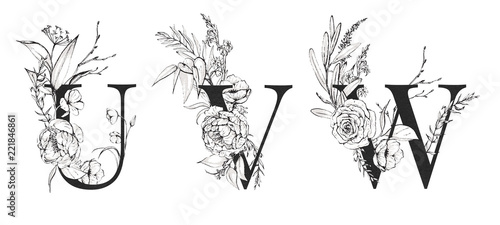 Graphic Floral Alphabet Set Letters U V W With Black White