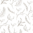 canvas print picture - Graphic floral seamless pattern - branches and leaves isolated elements on white background. For wedding stationary, greetings, wallpapers, fashion, logo, wrapping paper, fashion, textile, etc.