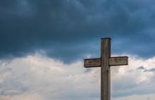 Simple Oak Catholic Cross, Sto...