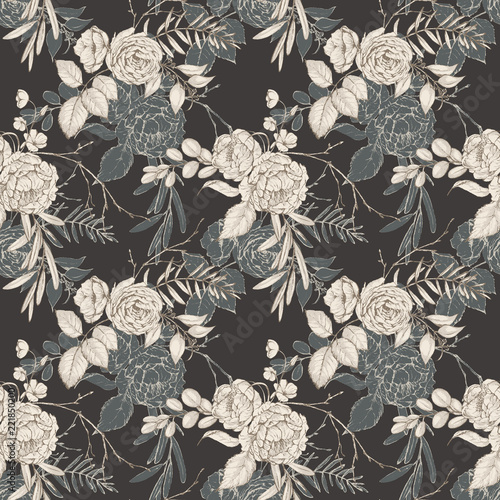 graphic-floral-seamless-pattern-flower-bouquets-illustration-on-dark-background-for-wedding