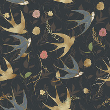 Graphic Floral Seamless Pattern - Gold Textured Swallow Birds And Flower Elements On Dark Background. For Wedding Stationary, Greetings, Wallpapers, Fashion, Logo, Wrapping Paper, Fashion, Textile.