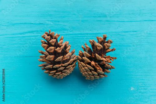 Obraz Dwie szyszki na niebieskim drewnianym blacie - fototapety do salonu