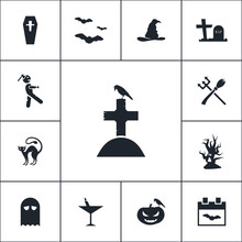 Grave Icon Halloween Set Simple Vector Sign