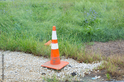 Fotografie, Obraz  traffic cones and orange stripes close up
