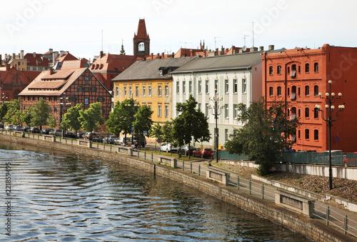 Poster Scandinavie Stary port embankment of Brda river in Bydgoszcz. Poland