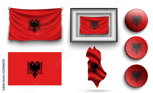 set of albania flags collection isolated Wallpaper Mural