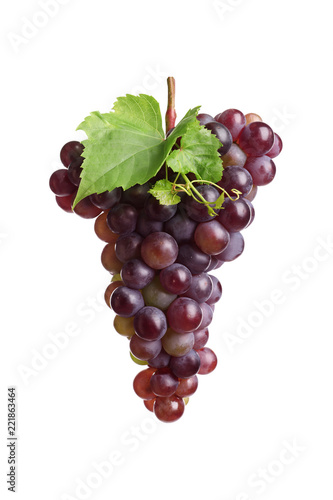 Bunch of fresh ripe juicy grapes isolated on white Canvas Print