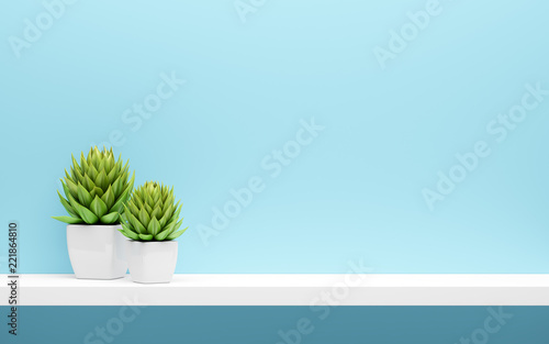 white shelf on blue wall with green potted plants mock up Canvas Print