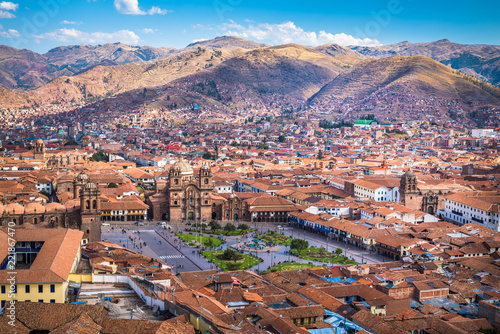 In de dag Zuid-Amerika land Panoramic view of Cusco historic center, Peru