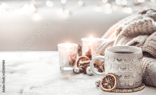 cozy winter composition with a cup and sweater Wallpaper Mural