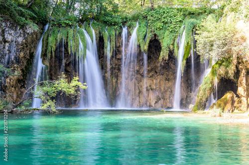 Poster Trees Waterfall at Plitvice Lakes, Croatia