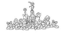 Sinterklaas Feest Kleurplaat - Diverse Elementen Die Symbool Staan Voor Het Sinterklaas Feest
