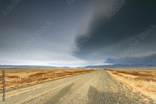 Tuinposter Vulkaan Natural disaster./ Volcano eruption of Eyjafjallajokull in Iceland
