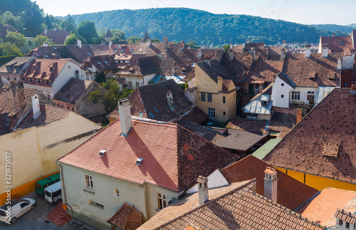 Fotografie, Obraz  Aerial view from clock tower in Sighisoara, Romania