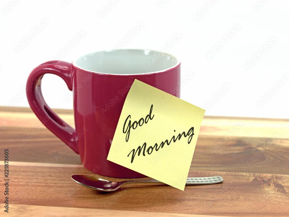 Photo Art Print Tassezettel Mit Aufschrift Guten Morgen