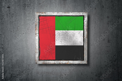 Fotografie, Obraz  United Arab Emirates flag in concrete wall