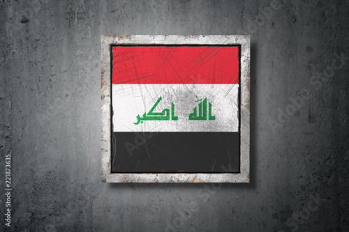 Fotografia, Obraz  Iraq flag in concrete wall