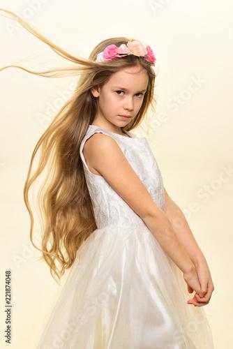 hairdo. little girl with cute hairdo. hairdo of child in hairdresser. trendy and modern hairdo. in her own style