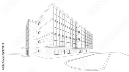 building construction architecture 3d illustration