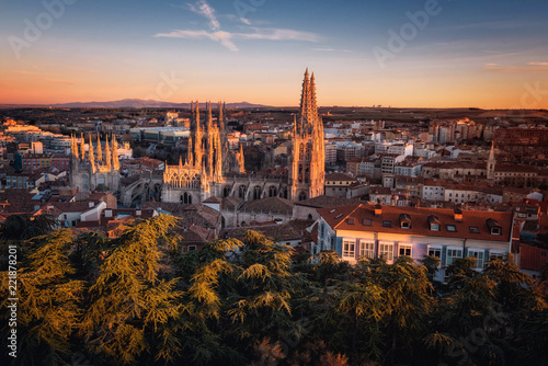 Burgos Cathedral and city panorama at sunset. Burgos, Castile and Leon, Spain.