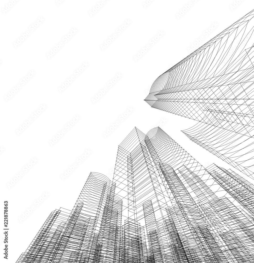 Fototapety, obrazy: building construction architecture 3d illustration