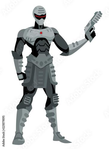 Foto  robot cyborg with a gun