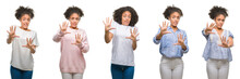 Collage Of African American Woman Over Isolated Background Afraid And Terrified With Fear Expression Stop Gesture With Hands, Shouting In Shock. Panic Concept.