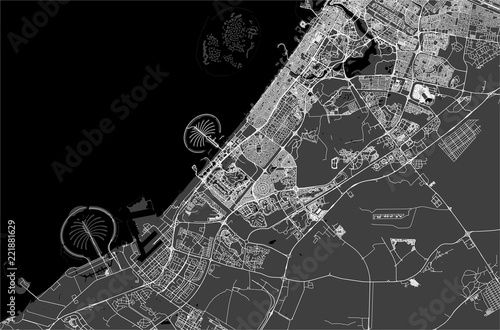 Fototapeta map of the city of Dubai, United Arab Emirates UAE