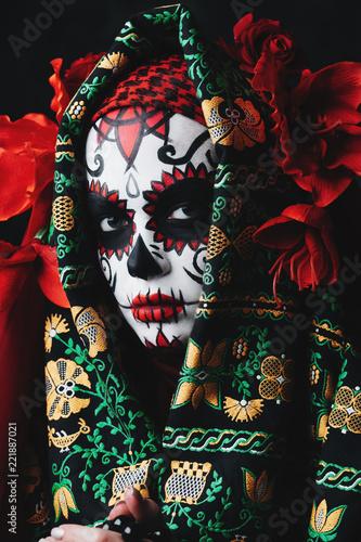 Spoed Fotobehang Halloween close up sugar makeup