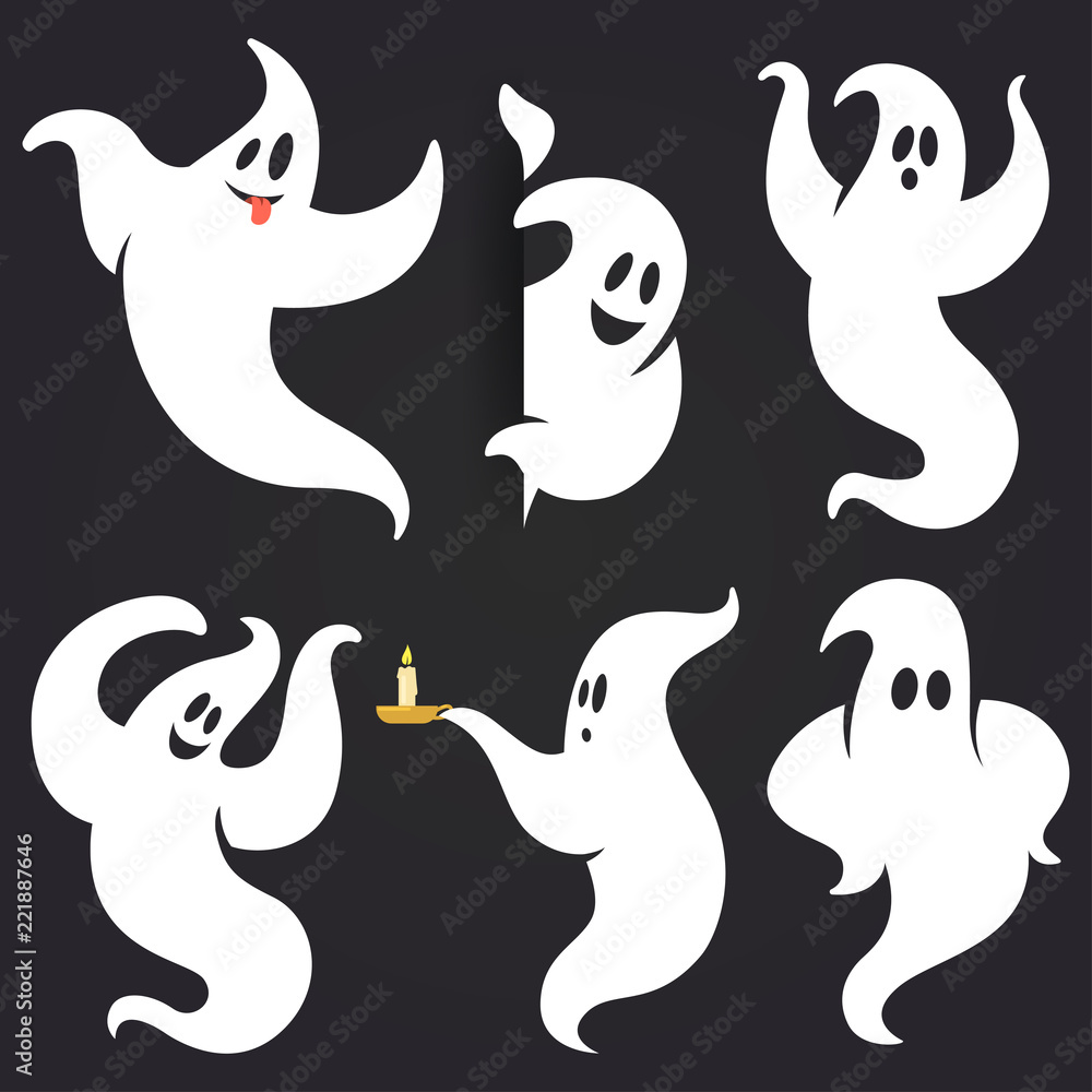 Fototapeta Funny Halloween ghost set in different poses. White flying spooky ghost silhouette isolated on dark background. Traditional festive element for your design. Vector illustration.