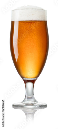 Tuinposter Alcohol glass of fresh lager beer isolated on white background