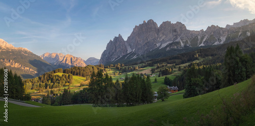 Tuinposter Alpen Cortina d'Ampezzo town panoramic view with alpine green landscape and massive Dolomites Alps in the background. Province of Belluno, South Tyrol, Italy.