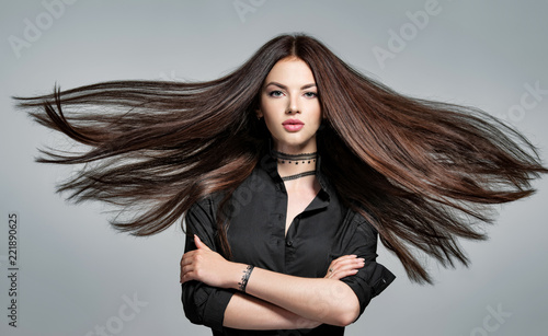 Young woman with long straight hair