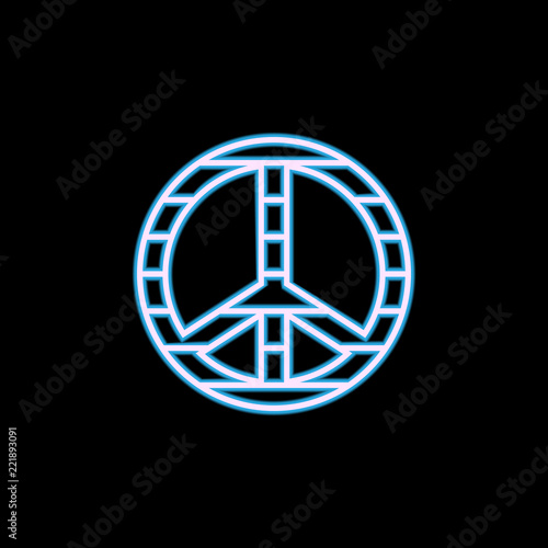 Foto  peace sign icon in neon style