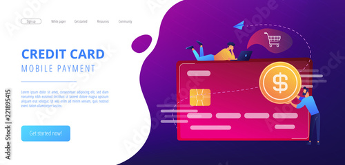 Credit card with dollar coin and users. E-commerce and online shopping, financial operations and plastic card, mobile payment and banking concept, violet palette. Website landing web page template.