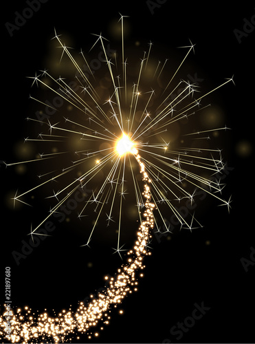 Fototapeta Golden sparkling petard or firework on black background.