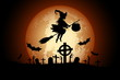 Leinwandbild Motiv Halloween Background with Witch and Zombie.