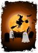 Leinwandbild Motiv Halloween Background with Witch and Ghosts.