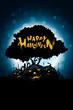 Leinwandbild Motiv Halloween Background with Tree and Pumpkin