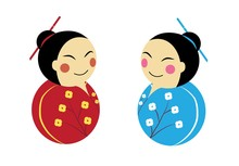 Kokeshi Dolls Smiling To Each ...