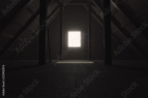 Photographie 3d rendering of darken empty attic with light at window